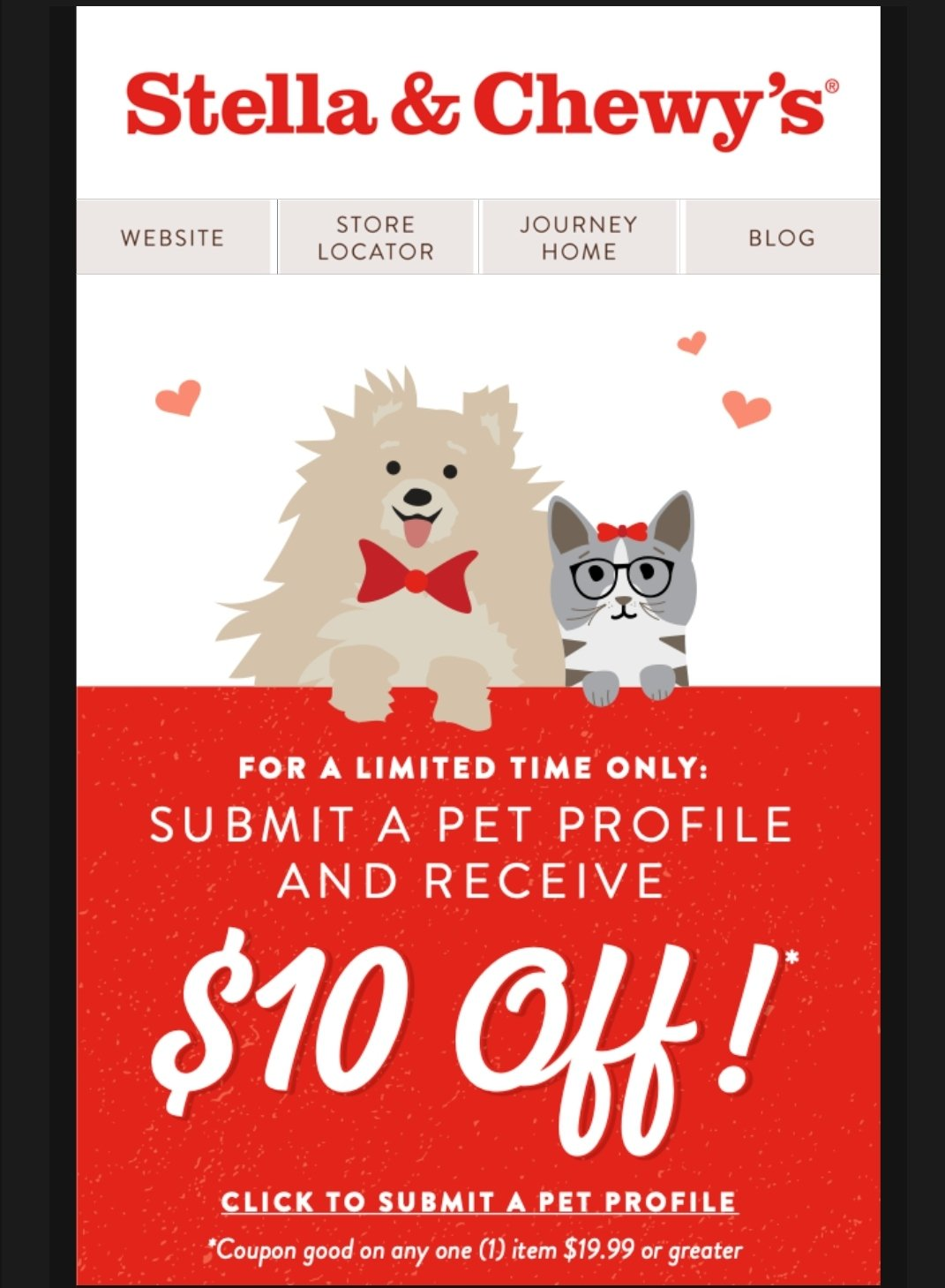 Limited Time Only...Get a $10 Coupon For Stella and Chewy ...